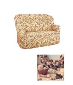 Чехол из коллекционной ткани Bielastico на 2х-местный диван |  Arricciato Flora V543