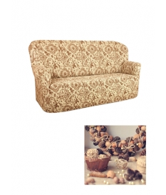 Чехол из коллекционной ткани Bielastico на 3х-местный диван |  Arricciato Flora V543