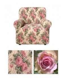 Чехол из  коллекционной ткани Bielastico на кресло | Goffrato Rose