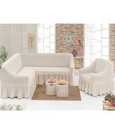 Чехол на угловой диван, материал Bielastico, с юбочкой